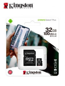 MEMORIA MICRO-SD KINGSTON CANVAS SELECT, 32GB, UHS-I SPEED CLASS 1 (U1), CON ADAPTADO