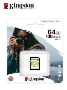 MEMORIA CARD SD KINGSTON CANVAS SELECT PLUS, 64 GB, UHS-I SPEED CLASS 1 (U1). VEL