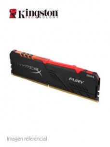 MEMORIA KINGSTON HYPERX FURY BLACK, 8GB, DDR4, 2666 MHZ, PC4-21300, CL16, 1.2V.