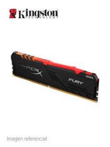 MEMORIA KINGSTON HYPERX FURY RGB, 8GB, DDR4, 2666MHZ, PC4-21300, CL-16, 1.2V. SOP