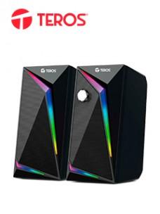 PARLANTE TEROS TE6031N, 6W. LUCES RGB ARLANTES TEROS TE-6031, SISTEMA 2.0, CONTRO