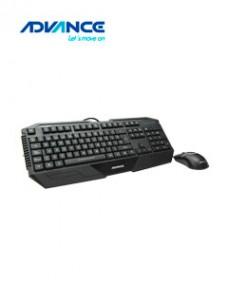 KIT DE TECLADO Y MOUSE GAMER ADVANCE ADV-4150, RETRO-ILUMINADO USB, NEGRO. TECLAD